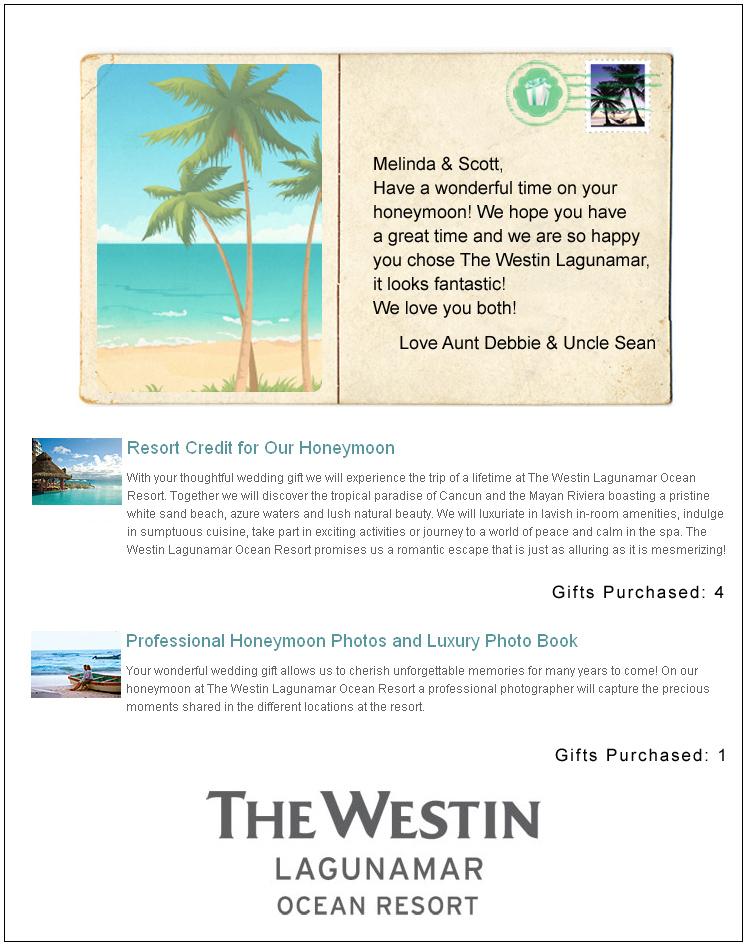 The Westin Lagunamar Honeymoon Registry